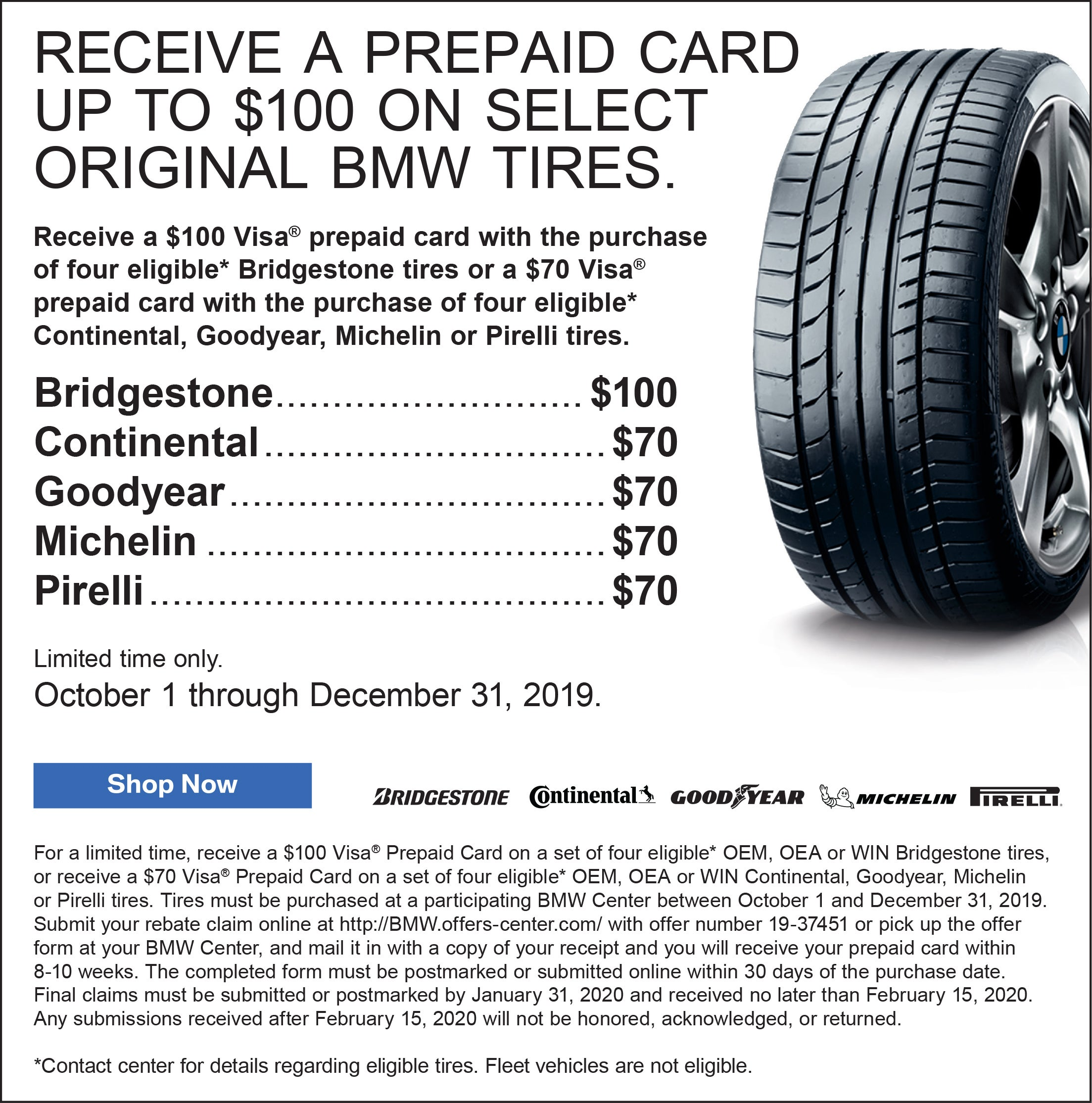Tire Sale Raleigh Nc >> Receive A Prepaid Card Up To 100 On Select Original Bmw